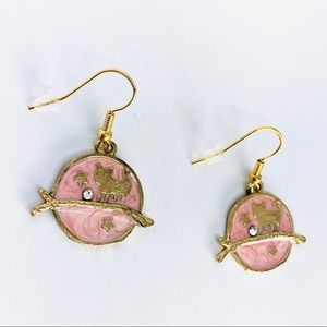 New! Pink Marble Cat Rhinestone Dangle Earrings